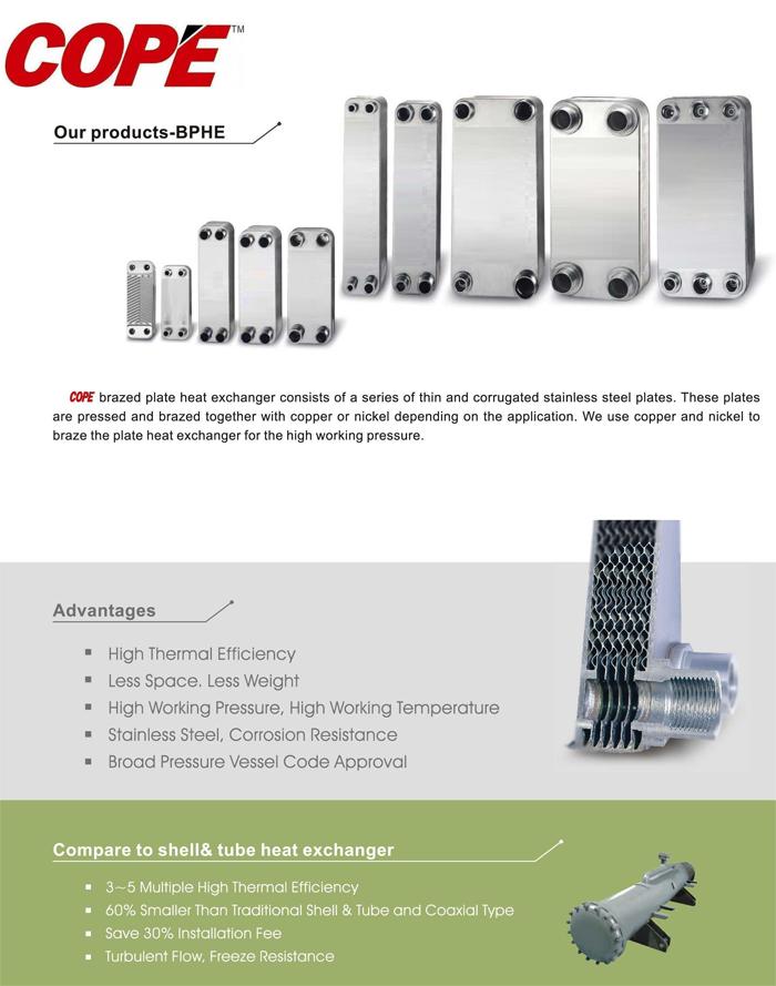 COPE brazed plate heat exchanger